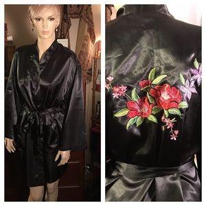 Sarah Spencer Intimates floral black bathrobe